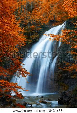Beautiful Waterfall. Autumn - stock photo