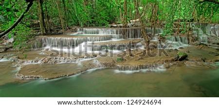 beautiful waterfall, Huay mae Ka Min waterfall in Thailand - stock photo