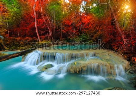 Beautiful waterfall in deep forest, Erawan National Park at Kanchanaburi in Thailand - stock photo
