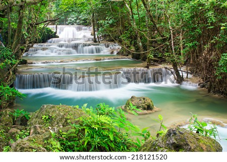 Beautiful waterfall in deep forest, Thailand