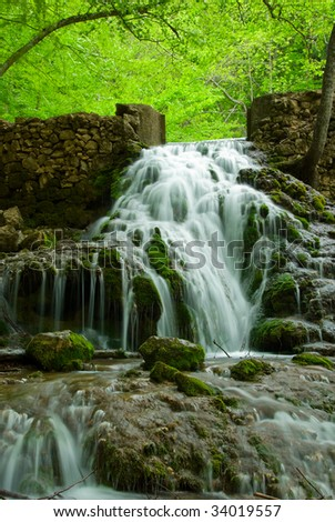 Beautiful waterfall in mountain area