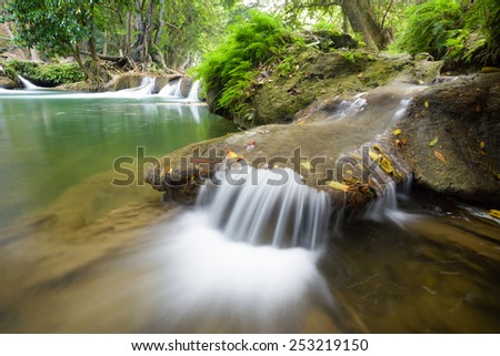beautiful waterfall in national park in Thailand - stock photo
