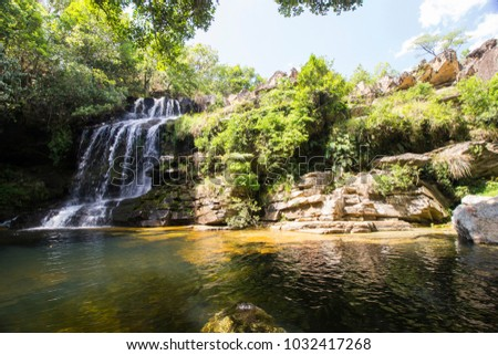 Beautiful waterfall in sunny day - Serra da Canastra National Park - Minas Gerais, Brazil - Jan, 2018.