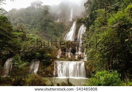 Beautiful waterfall in Thailand, Thi lo su waterfall Umphang Wildlife Sanctuary, Tak Province, Thailand