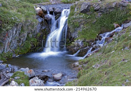 Beautiful waterfall in the Catalan Pyrenees.Vall de Nuria.Catalonia.Spain - stock photo
