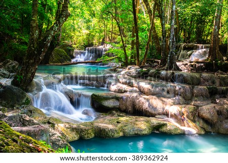 Beautiful waterfall in the deep forest - stock photo