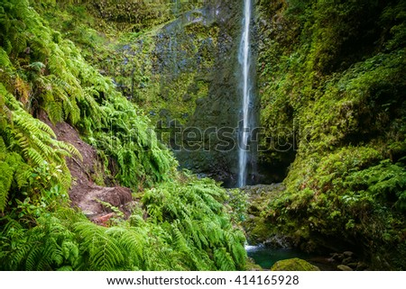 beautiful waterfall in the end of Levada Caldeirao Verde, Madeira - stock photo