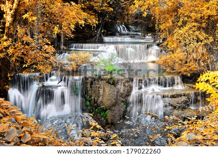 Beautiful waterfall in yellow leaf forest - stock photo