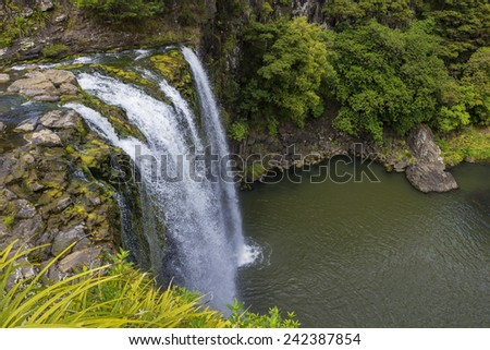 Beautiful Waterfall view from Above - stock photo