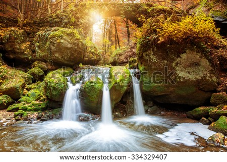 Beautiful waterfalls in the Mullerthal region in Luxembourg