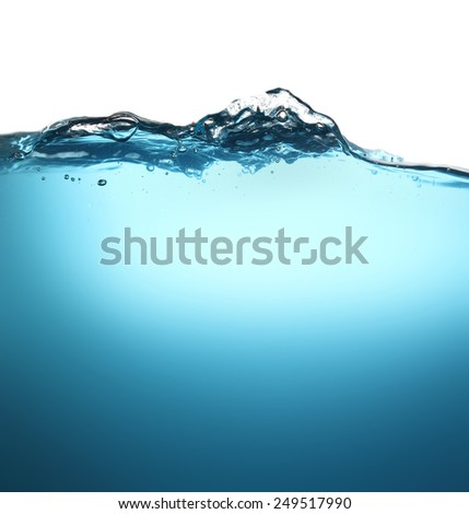 Beautiful wave and bubbles of pure drinking water in closeup. - stock photo