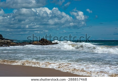 Beautiful waves on paradise beach in Southern Province, Sri Lanka, Asia in December.