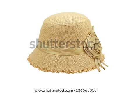 Beautiful Weaving hat isolated on white background - stock photo