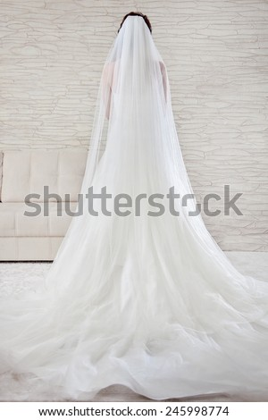 Beautiful wedding and a long white dress, veil, A classic look. Bride standing in white, bright interior. - stock photo