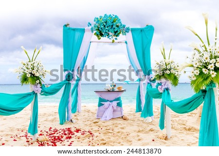 Beautiful Wedding Arch Cabana On Sand Beach Outdoor