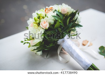 beautiful wedding bouquet - stock photo