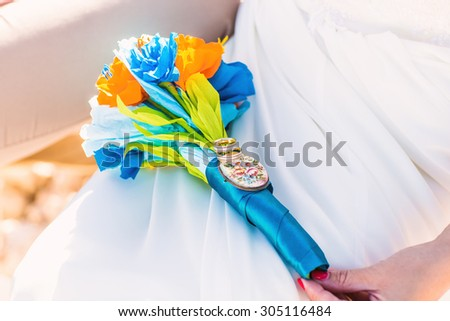 Beautiful wedding bouquet,  bridal bouquet and groom's boutonniere - stock photo