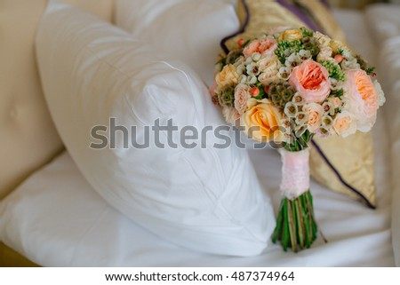 Beautiful wedding bouquet in the hotel room