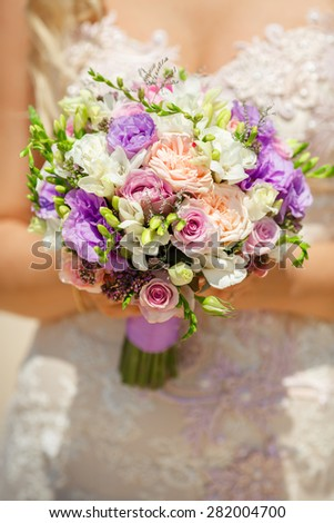Beautiful wedding bouquet marriage flowers bridal decorations bride flowers rustic style, selective focus, series