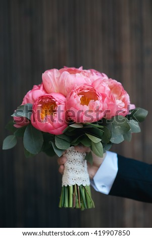Beautiful wedding bouquet of a bride