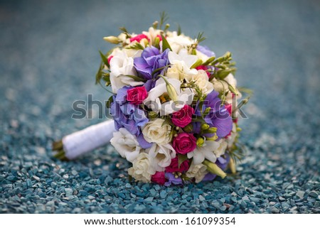 Beautiful wedding bouquet of bride, wedding delicate flowers. floral wedding theme decoration. wed flowers - stock photo