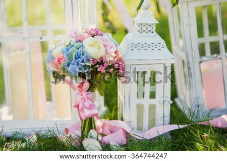 beautiful wedding bouquet on the grass
