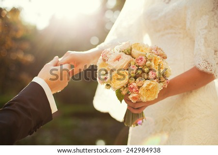 beautiful wedding bouquet with vibrant flowers - stock photo