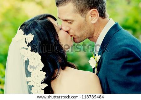 beautiful wedding bride and groom - stock photo