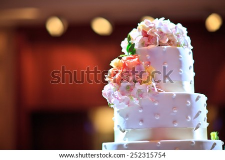 Beautiful wedding cake  in Wedding Ceremony - stock photo
