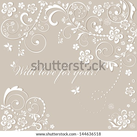 Beautiful wedding card. Raster copy of vector image
