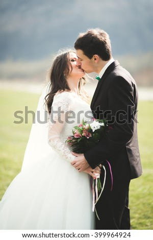 Beautiful wedding couple, bride, groom posing and walking in field against the background of high mountains