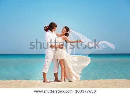 beautiful wedding couple on the beach. the bride and groom celebrate their wedding on the beach - stock photo