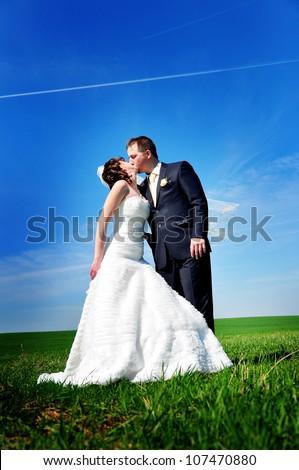 beautiful wedding couple on the field - stock photo