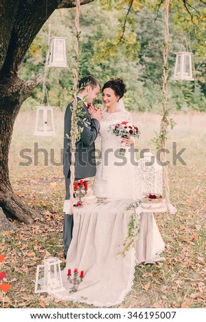 beautiful wedding decor, bride and groom