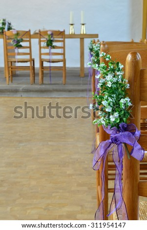 beautiful wedding decoration in the church