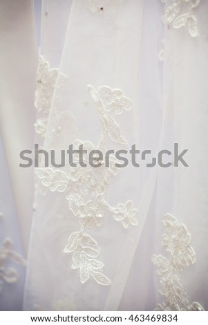 beautiful wedding dress close up