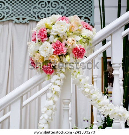 Beautiful wedding flower decoration stairs stock photo edit now beautiful wedding flower decoration at stairs junglespirit Image collections