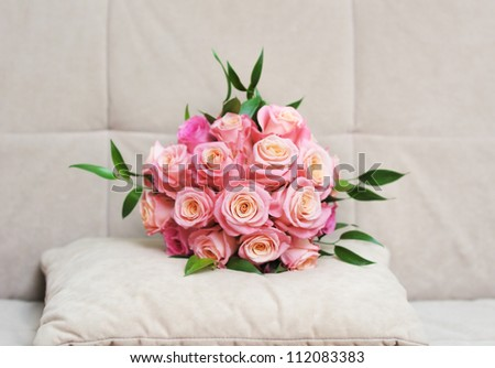 Beautiful wedding flowers bouquet (made of roses)
