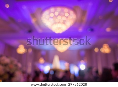 Beautiful wedding  party under purple lights : Soft & Dreamy Effect, Low Clarity , bokeh background - stock photo