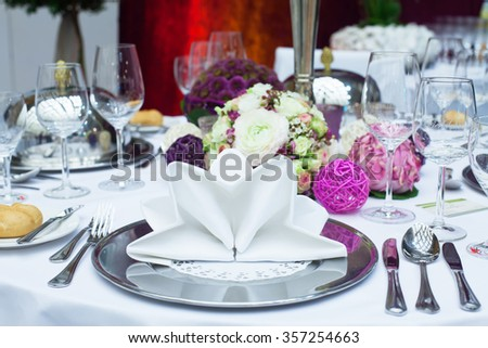 Beautiful wedding table setting. Selective focus.