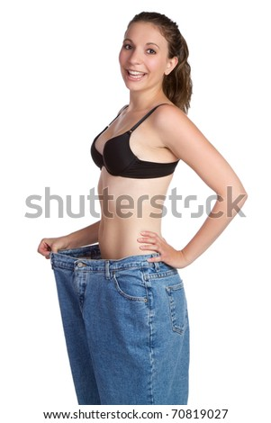 Beautiful weight loss woman smiling - stock photo
