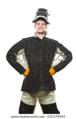 beautiful welder with arms on waist. isolated white background. - stock photo
