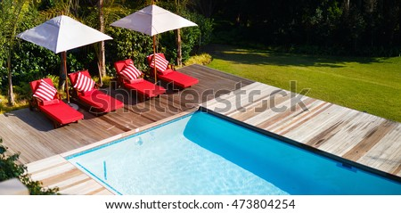 Beautiful wellness area and swimming pool in luxury resort or villa