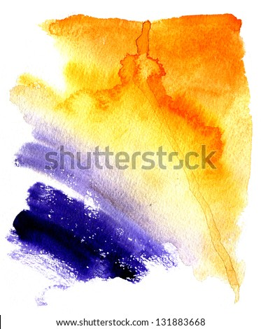 Beautiful wet watercolor orange and violet  streaks background - stock photo