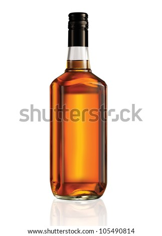 Beautiful Whisky Bottle against well lit background - stock photo