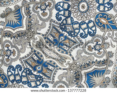 Beautiful white and blue arabesque, islamic pattern. - stock photo