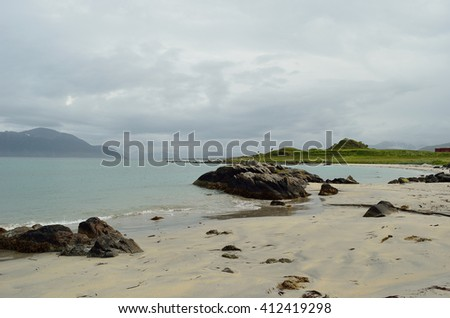 beautiful white beach in summertime - stock photo
