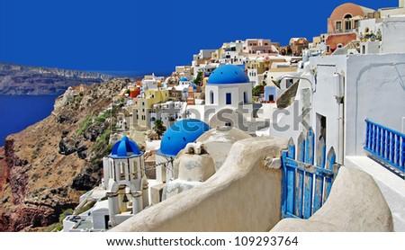 beautiful white-blue Santorini - stock photo