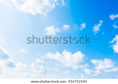 Beautiful white cloud on blue sky background - Boost up color Processing