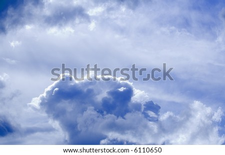 Beautiful white clouds and blue sky on a sunny day - stock photo